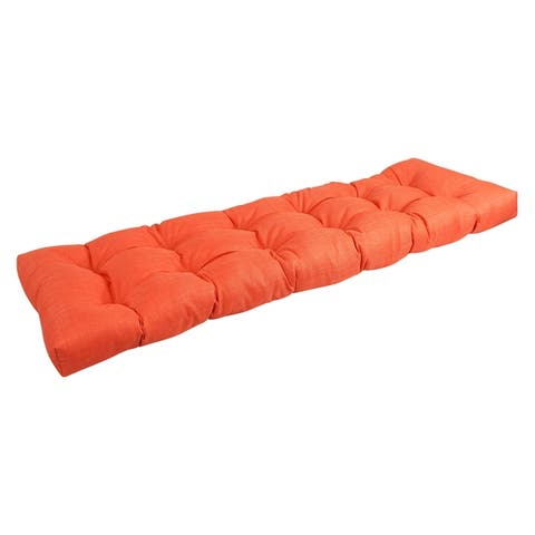 60x19-inch Tufted Solid Color Outdoor Spun Polyester Loveseat Cushion