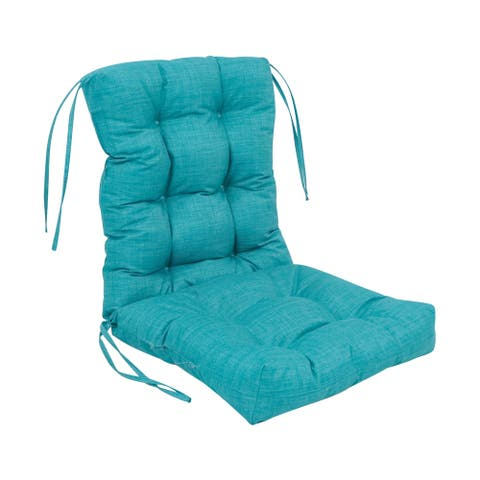 18-inch by 38-inch Spun Polyester Solid Outdoor Tufted Chair Cushion