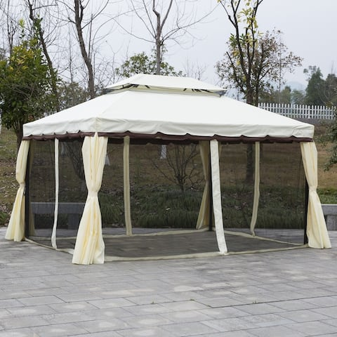 Outsunny 10' x 13' Metal Frame Outdoor Patio Gazebo with Beautiful Polyester Curtains and Air Venting Netted Screens