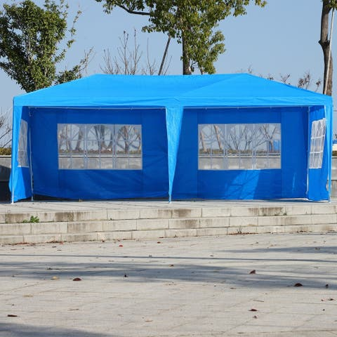 Outsunny Large 10' x 20' Canopy Party Gazebo Tent with 4 Removable Windows & Side Walls, Weather-Fighting Material, Blue