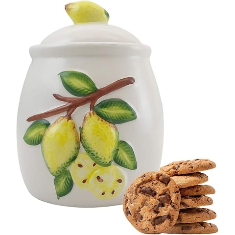 40 oz Decorative Ceramic Food Storage Container for Kitchen Countertops and Tables - Fits a Small Box of Cookies Perfectly
