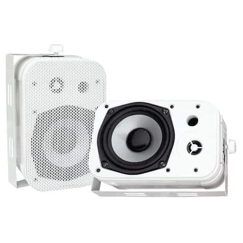 Pyle PDWR40W Dual Waterproof Outdoor Speaker System - 5.25 Inch Pair of Weatherproof Wall/Ceiling Mounted Speakers - White