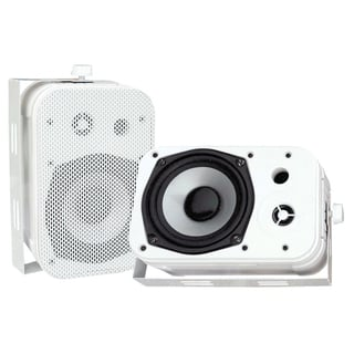 Pyle PDWR40W Dual Waterproof Outdoor Speaker System - 5.25 Inch Pair of Weatherproof Wall/Ceiling Mounted Speakers - White