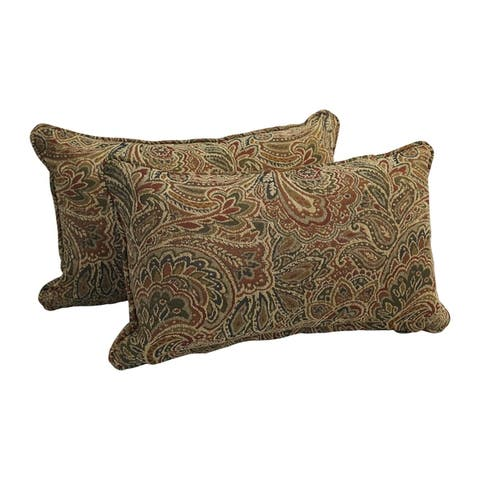 18-inch Corded Patterned Jacquard Chenille Lumbar Throw Pillows (Set of 2)