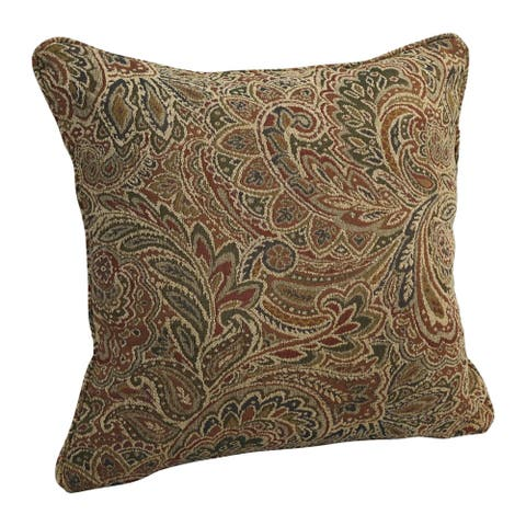 18-in. Square Corded Patterned Jacquard Chenille Throw Pillow
