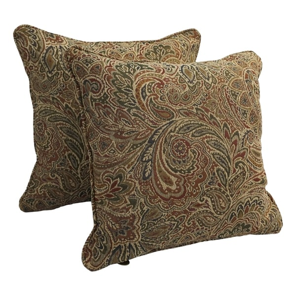 18-inch Corded Patterned Jacquard Chenille Square Throw Pillows (Set of 2). Opens flyout.