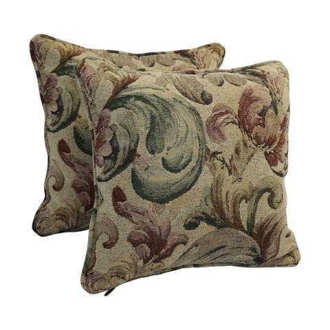 18-inch Corded Patterned Jacquard Chenille Square Throw Pillows (Set of 2)