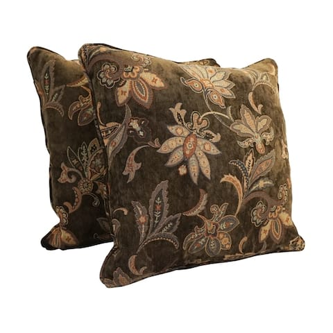 25-inch Corded Patterned Jacquard Chenille Square Floor Pillows (Set of 2)