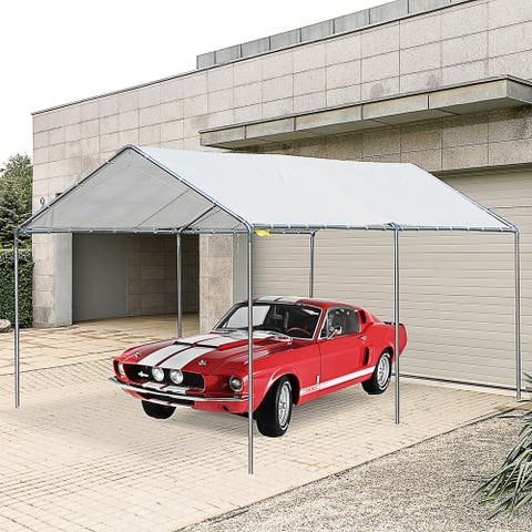 Outsunny 9.5' x 9.2' x 8.5' 2-Room Heavy Duty Carport Canopy with Water/UV Fighting Material & a Simple Open Design