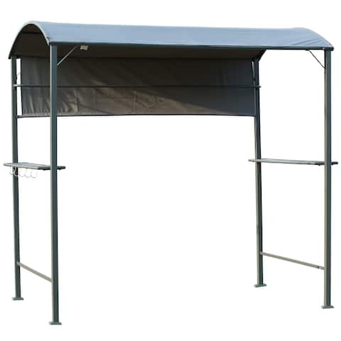 Outsunny 7 ft Outdoor Patio BBQ Grill Canopy Gazebo Tent with Side Awning, 2 Exterior Serving Shelves, & Storage 5 Hooks