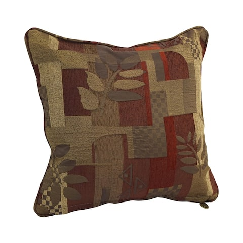 18-inch Corded Patterned Jacquard Chenille Square Throw Pillow