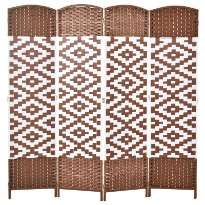 HomCom 6ft 4-Panel Diamond Weave Folding Room Divider with Freestanding Folding Screen & Stylish Wicker Material