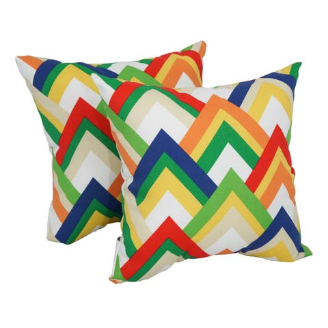 Blazing Needles 17-inch Square Polyester Outdoor Throw Pillows (Set of 2)