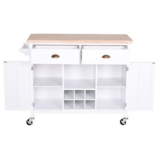 Link to HomCom Kitchen Island Utility Cart on Wheels with Large Counter, 2 Spacious Drawers & Storage Cabinets, & Wine Storage Similar Items in Kitchen Furniture