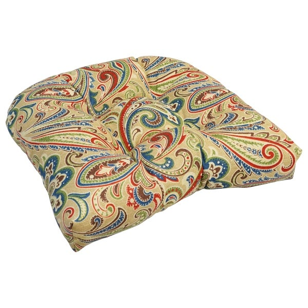 19-inch U-Shaped Spun Polyester Outdoor Tufted Dining Chair Cushion. Opens flyout.