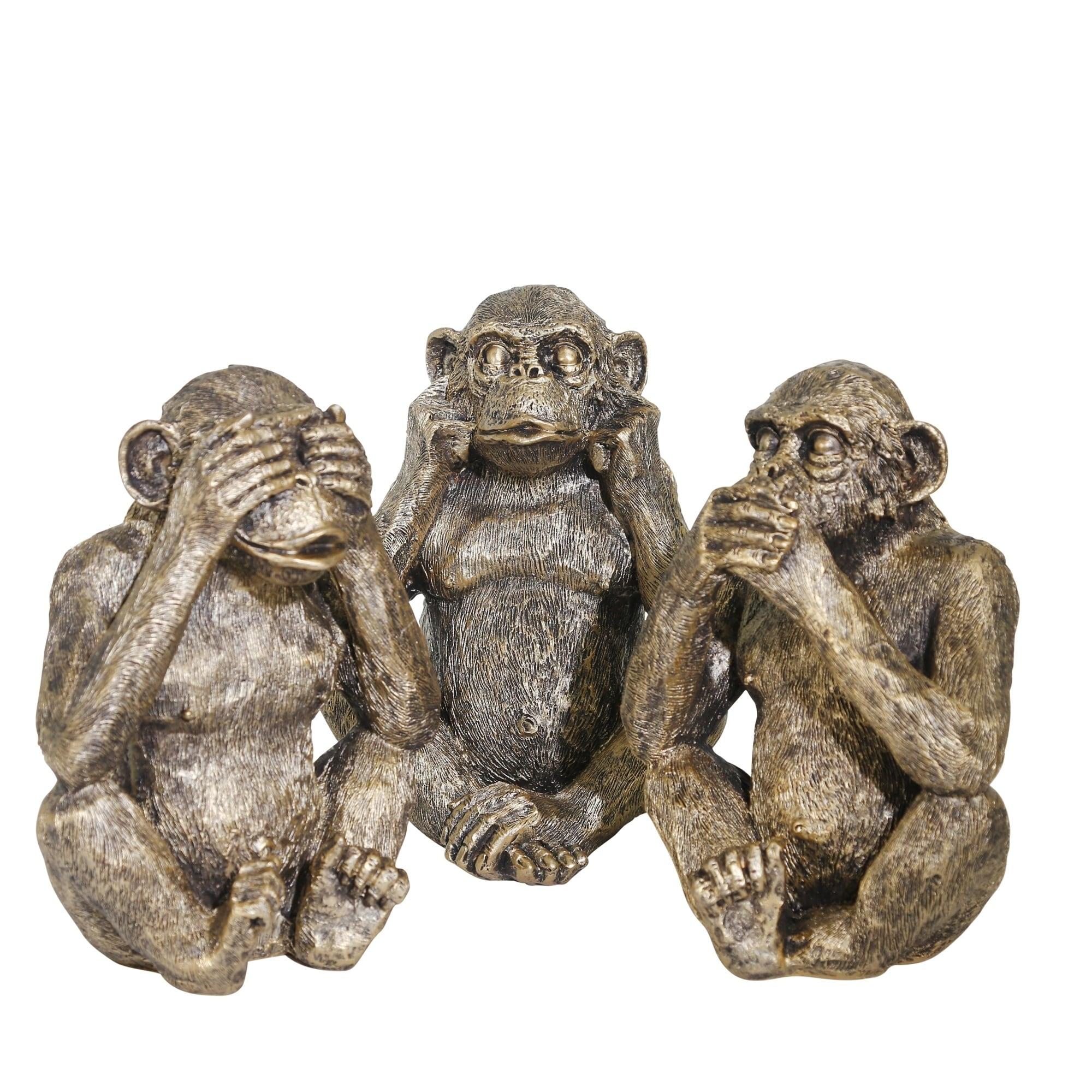 NIB! See,Speak Hear No Evil Monkeys Resin By Falcon Miniatures Dollhouse