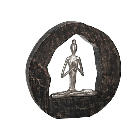 "Aluminum Yoga Lady In Circle Log 11"", Silver"