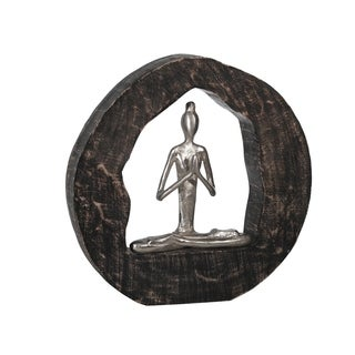 Aluminum Yoga Lady In Circle Log 11 Silver Overstock 30971964