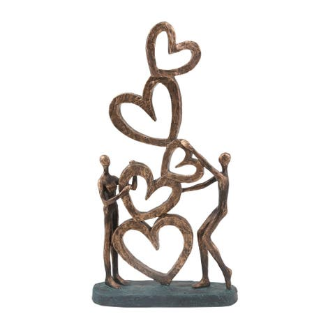"""Polyresin 16.5"""" Couple With Hearts, Bronze"""