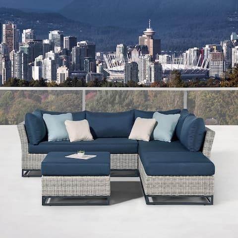 Martha Stewart Clarence 4-Piece Aluminum Frame Patio Conversation Set with Navy Blue Olefin Cushions