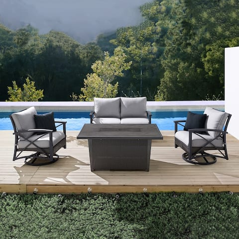 Martha Stewart Lakeside 4-Piece Patio Chat Set with Fire Table