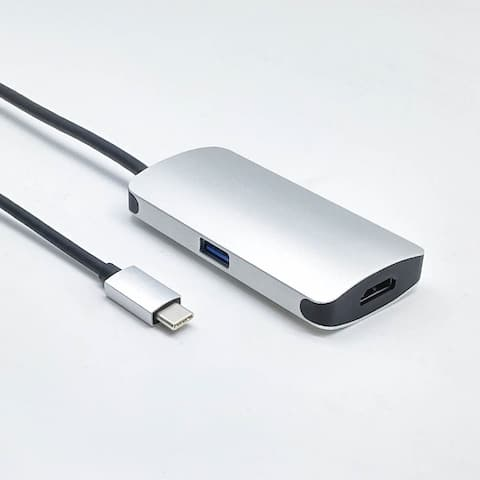 Fuji Labs USB Type C (Thunderbolt) Male to HDMI and C and USB 3.0 Female 3 in 1 Adapter