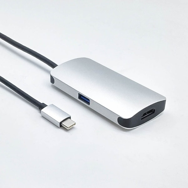 Fuji Labs USB Type C (Thunderbolt) Male to HDMI and C and USB 3.0 Female 3 in 1 Adapter. Opens flyout.
