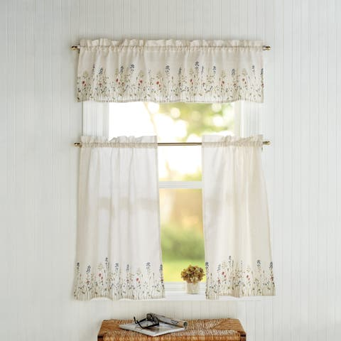 Dandelion Print Valance and Tier Pair Curtain Collection