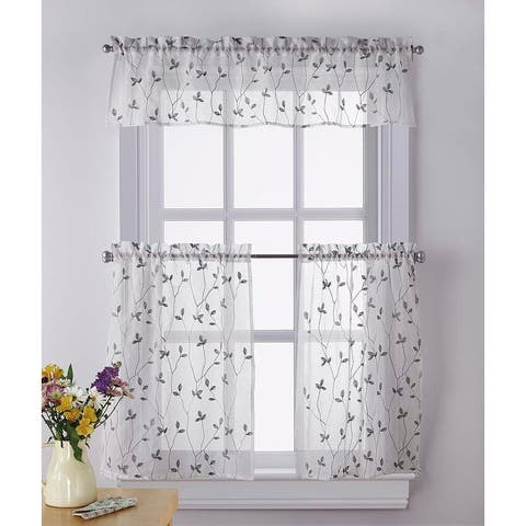 Botanical Embroidery Valance and Tier Pair Curtain Collection