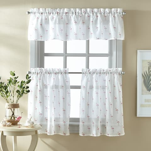 "Destinations Flamingo 3-piece Curtain Tier and Valance Set - 1-Valance and 2-36"" Tiers"