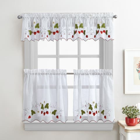 Strawberry Garden Valance, Swag and Tier Pair Curtain Collection