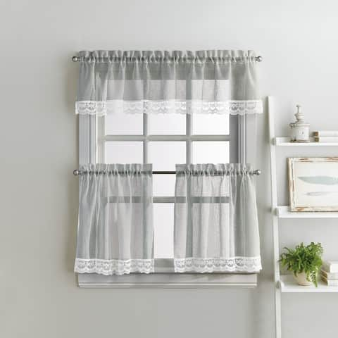 Delicate Lace 3-piece Curtain Tier and Valance Set