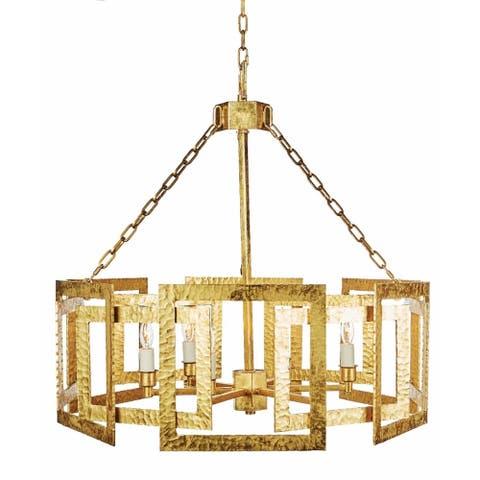 Hammered Metal Octagonal Chandelier, Gold