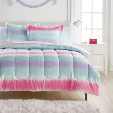 Dream Factory Tie Dye Stripe Microfiber Bed in a Bag with Sheet Set