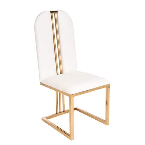 Statements By J Elegant Modern Bercy Upholstered Dining Chair, 40.5 Inch Tall, White and Gold