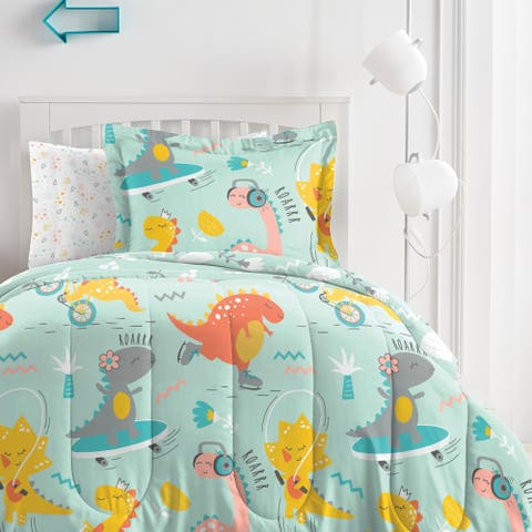 Dream Factory Dino Time Microfiber Bed in a Bag with Sheet Set
