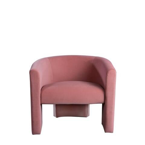 Statements Bu J Leblon Barrel Mid-Century Curved Accent Chair, 29.5 Inch Tall, Rose