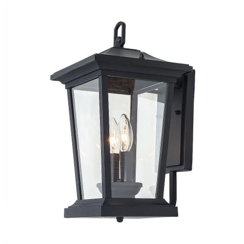 "Mid-Century Outdoor Wall Sconce Lighting in Black Aluminum Alloy - D9.2""*W8""*H15.2"""