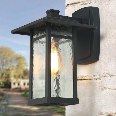 "Mid-Century T-Shape Outdoor Wall Sconce Lighting in Black Aluminum Alloy - W8""x H13.4""x E9.8"""