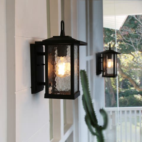 "Mid-Century Water Glass Outdoor Wall Sconce Lighting in Black Aluminum Alloy - W7""x H12""x E8"""