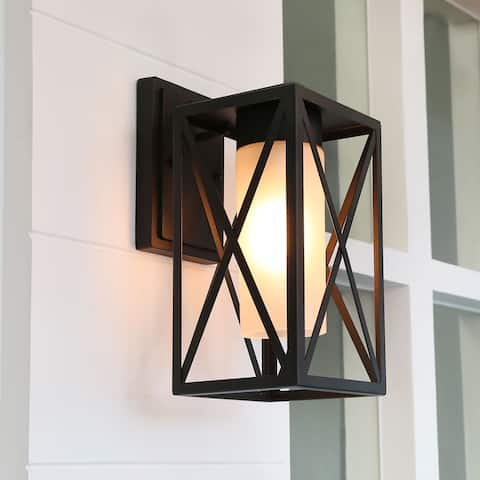 "Mid-Century X-Shape Outdoor Wall Sconce Lighting in Black Aluminum Alloy - W6.2""x H12.2""x E7.5"""