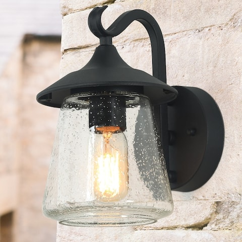 "Mid-Century Hat-Shape Outdoor Wall Sconce Lighting in Black Aluminum Alloy - W6.25""*H9.8""*E7.9"""