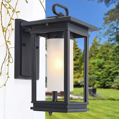 "Mid-Century Sand Black Outdoor Wall Sconce Lighting - D8.7""*W7""*H14.6"""