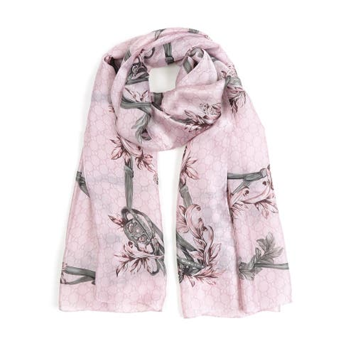 Women Floral Printed Silk Scarves Spring Summer Scarf Soft Neck Wraps