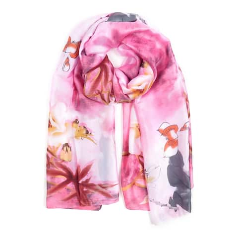 Silk Scarfs for Women Fashion Neck Scarves Floral Printed Casual Scarf