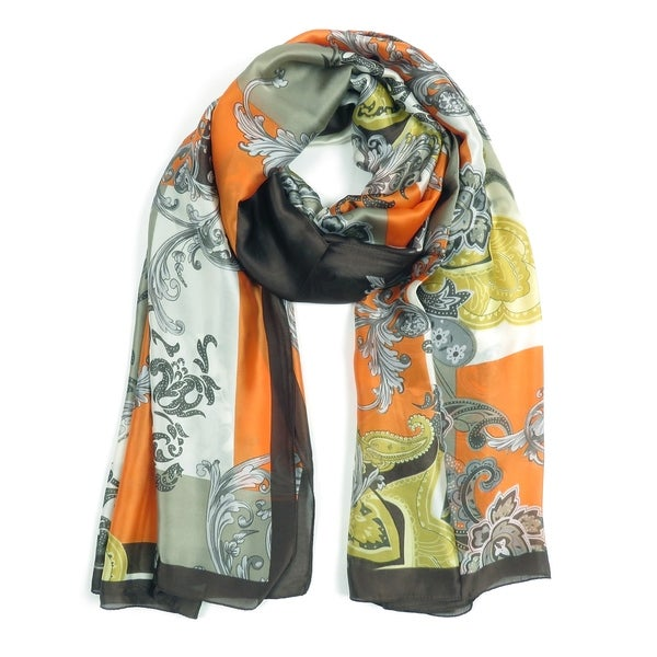 Women Scarves Evening Party Silk Scarf Floral Paisley Printed Neck Wraps. Opens flyout.