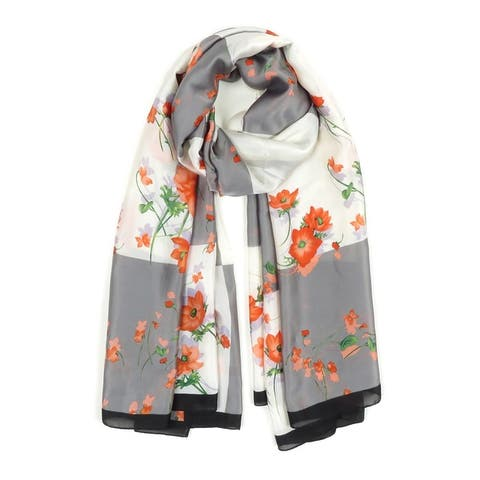 Women Silk Scarf Floral Printed Scarves Lightweight Soft Neck Shawl Wraps