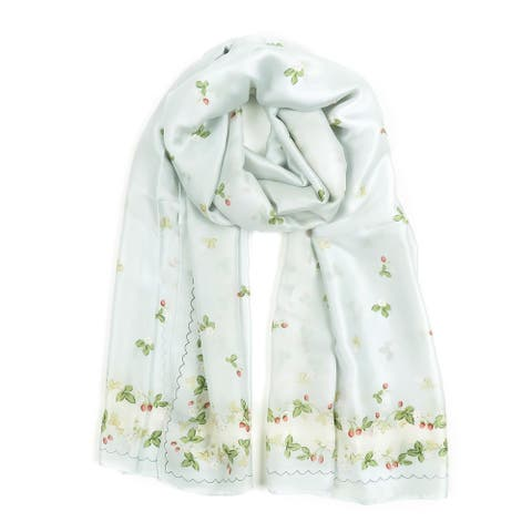 Scarf for Women Silk Floral Printed Scarves Neck Wraps for Ladies Gift
