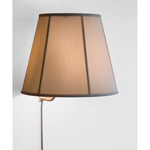 Floating Shade Plug-In Wall Light Eggshell Fabric 10.75x17x14