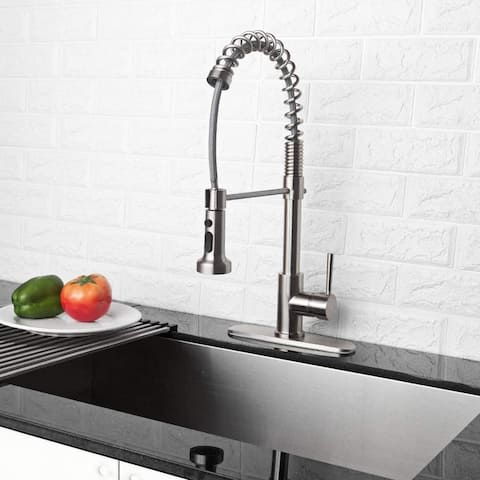 Lordear Commercial Pull Out Sprayer Single Handle Kitchen faucet